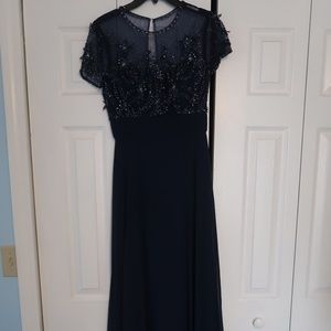 JS Collections Navy Blue Sweetheart Neckline Dress
